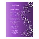 Purple Floral Cute Swirls Wedding Invitation Custom Invite