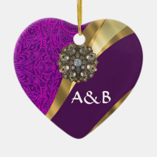 Purple floral damask  gold swirl ceramic ornament