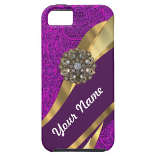 Purple floral damask  gold swirl iPhone 5 cases