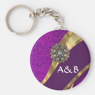 Purple floral damask  gold swirl keychain