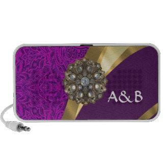 Purple floral damask  gold swirl portable speaker