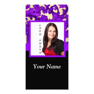 Purple floral damask photo template