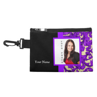 Purple floral damask photo template accessory bags