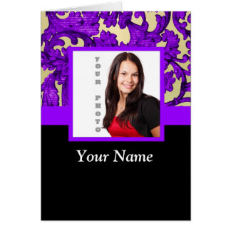 Purple floral damask photo template card