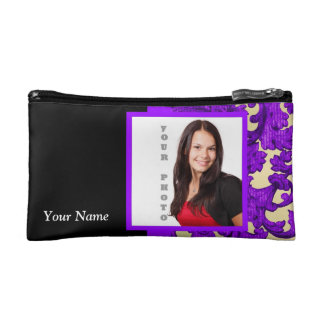Purple floral damask photo template cosmetic bag