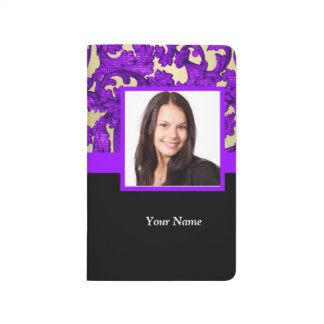 Purple floral damask photo template journal