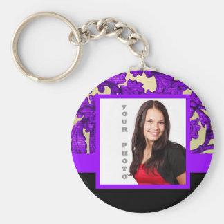 Purple floral damask photo template basic round button keychain