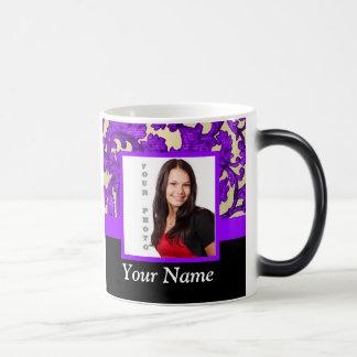 Purple floral damask photo template magic mug