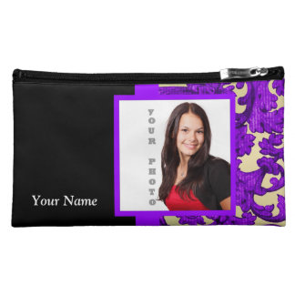 Purple floral damask photo template makeup bag