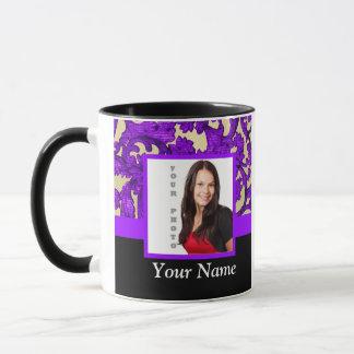 Purple floral damask photo template mug