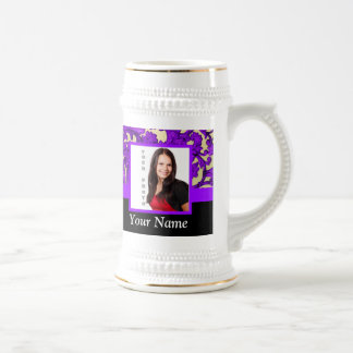 Purple floral damask photo template 18 oz beer stein