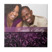Purple Floral Damask Photo Wedding Favor Tile