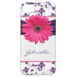 Purple Floral Damask Pink Gerber Daisy iPhone 5 iPhone 5 Covers