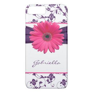 Purple Floral Damask Pink Gerber Daisy iPhone 6 ca iPhone 7 Plus Case