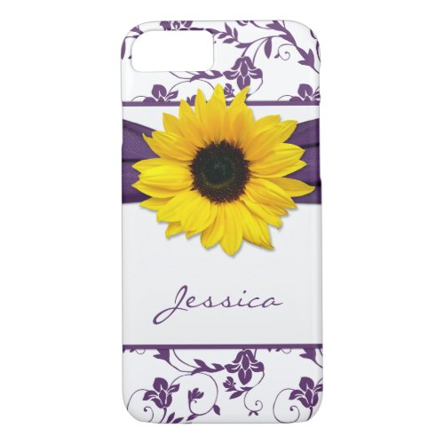 Purple Floral Damask Yellow Sunflower iPhone 8/7 Case