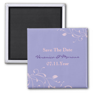 Purple Floral Decal Save The Date Magnet