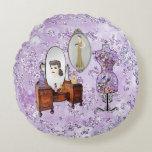 Purple Floral Dress Form & Dresser Bokeh Bling Round Pillow