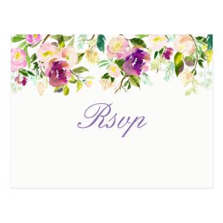 Purple Floral Elegant Quinceanera RSVP Postcard