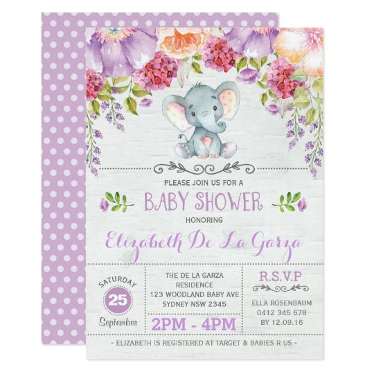 Purple Floral Elephant Baby Girl Shower Invitation Zazzle Com