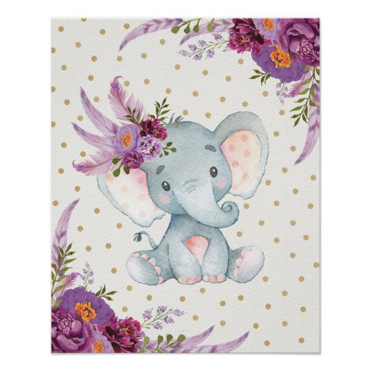 Purple Floral Elephant Nursery Art Boho Decor Sign