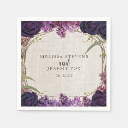 Purple Floral Enchanted Forest Wedding Paper Napkins