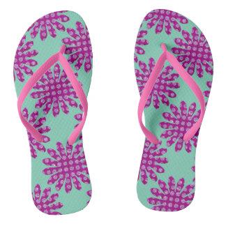 Purple Floral Flip Flops