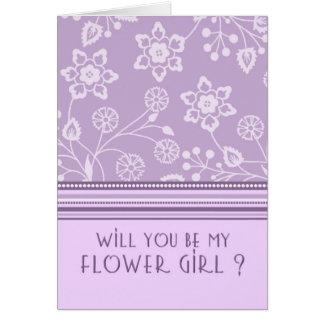 Purple Floral Flower Girl Invitation Card