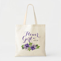 Purple Floral Flower Girl Tote Bag