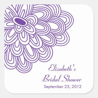 Purple Floral Flowers Bridal Shower Favor Sticker