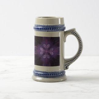 Purple Floral Fractal Beer Stein