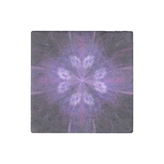 Purple Floral Fractal Stone Magnet