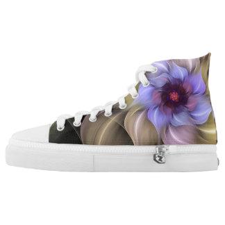 Purple Floral Fractal High-Top Sneakers