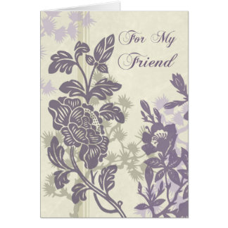 Purple Floral Friend Maid of Honor Thank You Card