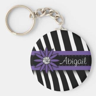 Purple Floral Gem & Zebra Pattern Keychain