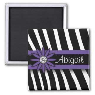 Purple Floral Gem & Zebra Pattern Magnet