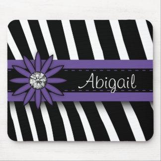 Purple Floral Gem & Zebra Pattern Mouse Pad