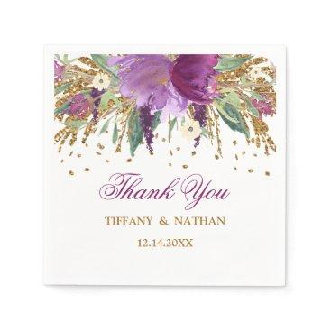 Wedding Themed Purple Floral Glitter Amethyst Wedding Napkin