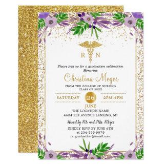 Purple Floral Gold Nursing School Graduation Party Card