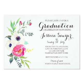 Purple Floral Graduation party Invitation
