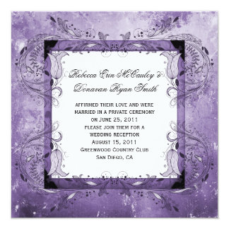 Purple Floral Grunge Post Wedding Celebration Announcement