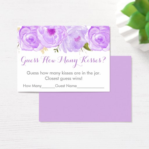 Purple Floral Guess How Many Bridal Shower Game Business Card