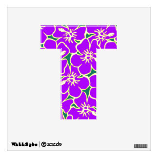 Purple Floral Hawaiian Luau  Initial Letter T Wall Graphics