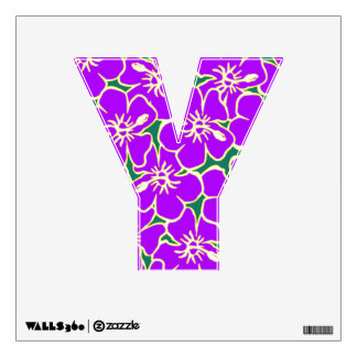 Purple Floral Hawaiian Luau  Initial Letter Y Wall Decal