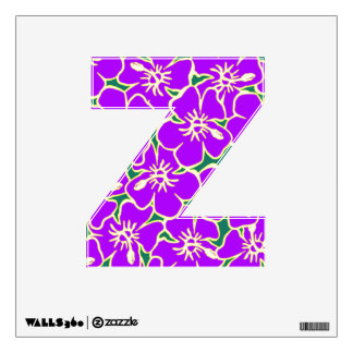 Purple Floral Hawaiian Luau  Initial Letter Z Wall Graphics