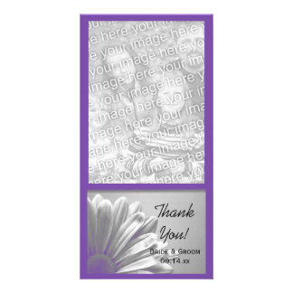 Purple Floral Highlights Wedding Thank You Card