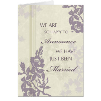 Purple Floral Just Married Announcement Card