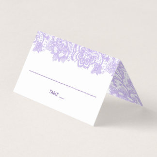 Purple Floral Lantern and Lace Place Card