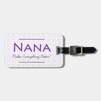 Purple Floral Luggage Tag for Nana
