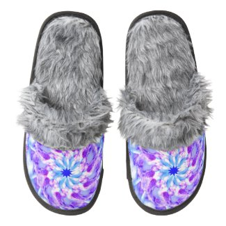 Purple Floral Mandala Pair of Fuzzy Slippers