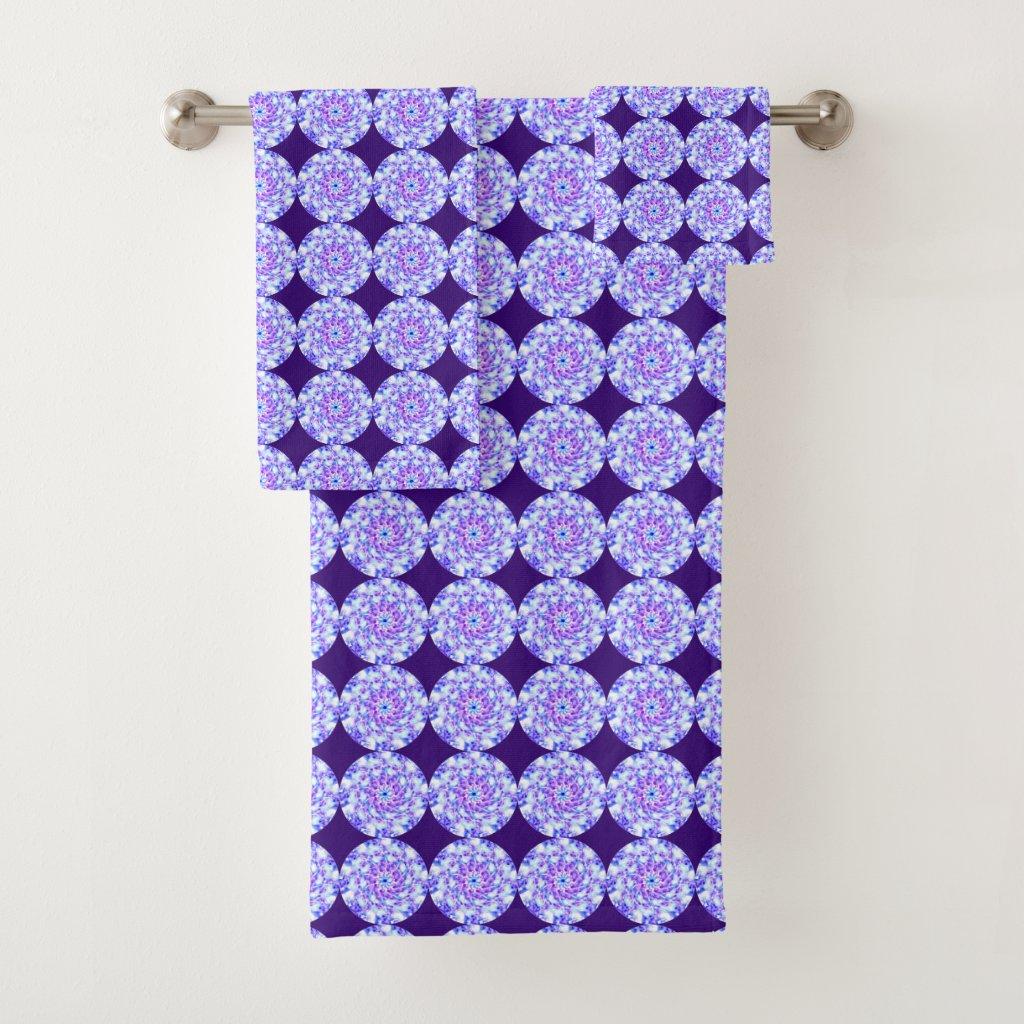 Purple Floral Mandala Pattern Bath Towels